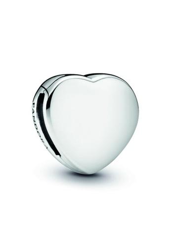 PANDORA silver Pandora Simple Heart Clip Charm BC3C4ACF717795GS_1