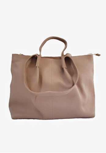 Costal Leather Bags grey and beige Rachel Genuine Leather Tote 98329AC3C268EAGS_1