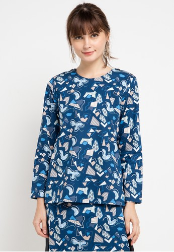 Bateeq blue Long Sleeve Cotton Print Blouse 52A1FAA5BFF587GS_1