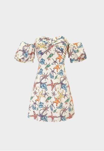 Pomelo beige Starfish Cold Shoulder Mini Dress - Cream F503FAAF6EC82DGS_1