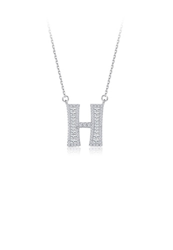 Glamorousky white 925 Sterling Silver Fashion Personality English Alphabet H Cubic Zircon Necklace 18555AC1473F6FGS_1