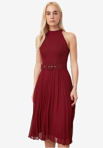 Trendyol red Belted Midi Pleats Dress F95F0AA1FB4F07GS_1