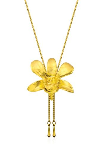 RISIS gold RISIS 24K Gold Plated Natural Dendrobium Li Min Eng Orchid Slider 5577BACA835266GS_1