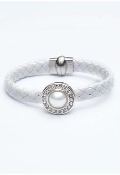 White 1-Snap Woven Bracelet