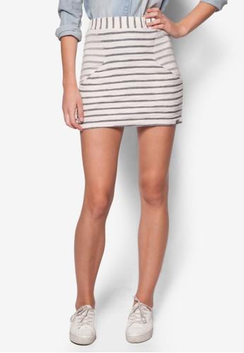 Terry 雙口袋條esprit 評價紋短裙, 服飾, 服飾