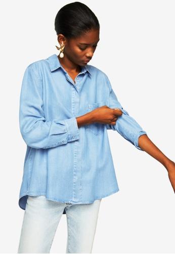 Mango blue Pocket Soft Shirt ABD92AABC9D76CGS_1