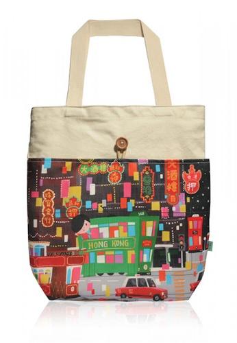 a485b94be Buy Monocozzi Little Lon x MONOCOZZI - Canvas Tote Bag - Hong Kong Tram |  ZALORA HK