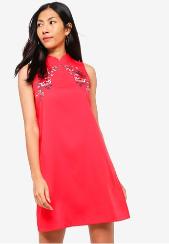 ZALORA red Mandarin Collar Shift Dress C4CE3AA3D2BC33GS_1