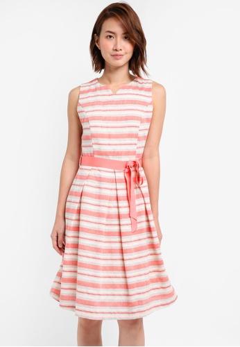 ZALORA orange Fit and Flare Dress With Pleats 1094DAA42A73DEGS_1