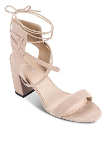 Harper 交叉繫帶踝帶粗跟高跟涼鞋, 女鞋, esprit 包鞋