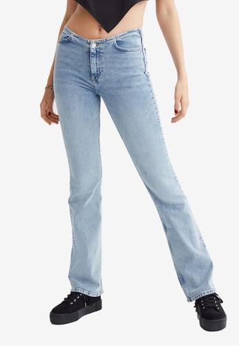 H&M blue Flared Low Waist Jeans CF58DAA82EA2B5GS_1