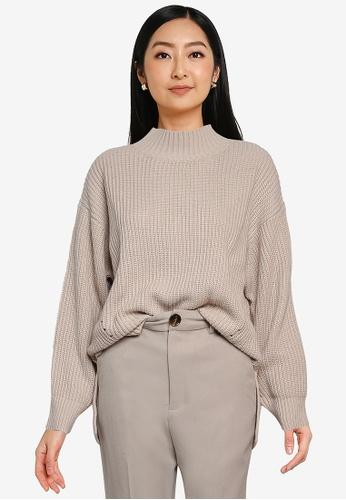 GLOBAL WORK beige Knit Sweater F820FAA689EEA3GS_1
