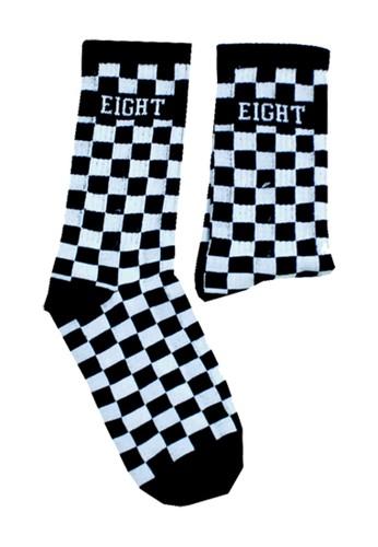 Eight Wardrobe black Checkerboard Sock Soc08 538F6AA44B7E13GS_1