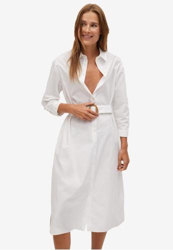 Mango white Cotton Shirt Dress 7980DAA3BE0428GS_1