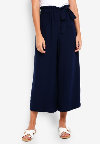 TOPSHOP navy Tie Side Crop Wide Trousers 24E9CAA8B79E1AGS_1