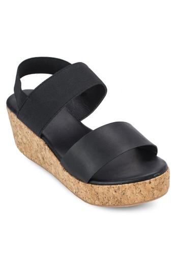軟木厚底寬帶楔zalora 心得型涼鞋, 女鞋, 楔形涼鞋