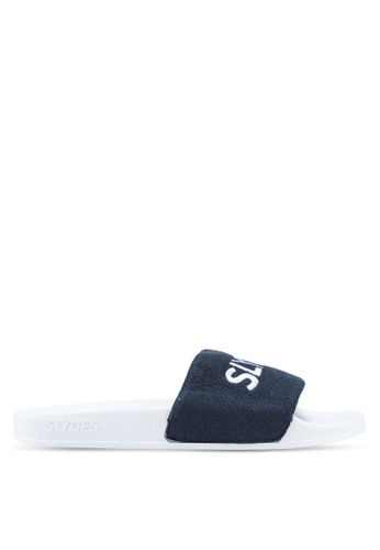 Slydes white and navy Plya Sandals 95267SHA62565EGS_1