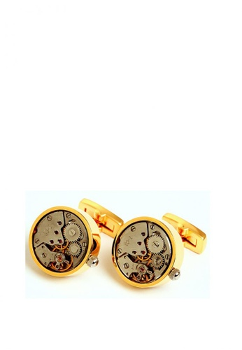 Kings Collection gold Vintage Round Watch Functional Mechanical Cuff links with Box 2C7D9AC4208411GS_1