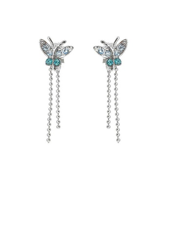 Glamorousky blue Mini Butterfly Earrings with Blue Austrian Element Crystals 8F463ACBF0A1F9GS_1