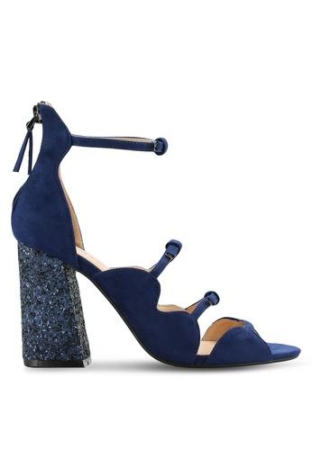 ZALORA 海軍藍色 Gliter Block Heel Sandal DB7F5SH4D092E8GS_1