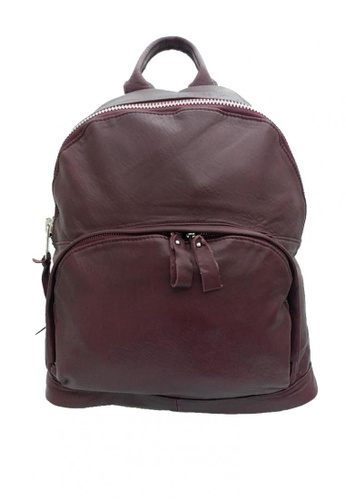 Shop IXACC Burgundy Sheepskin Leather Backpack Online on ZALORA Philippines 103a07b02e