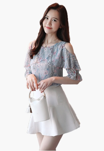 bd83cd35da98d7 Buy Halo Floral Printed Cold Shoulder Blouse | ZALORA HK