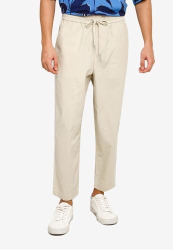 Urban Revivo 米褐色 Casual Trousers F2559AA945822DGS_1