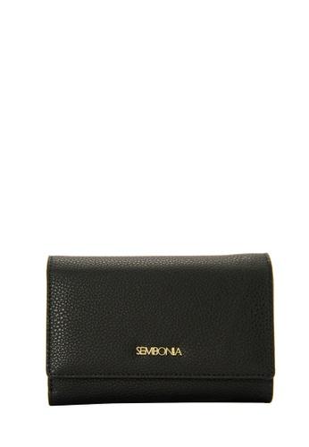SEMBONIA black Microfiber Trimmed Leather Tri-Fold Continental Wallet (Black) 6DA9EACE6EB007GS_1