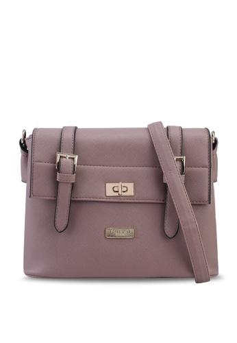 Unisa purple Saffiano Texture Mini Sling Bag With Turn Lock BA1B5AC3B92102GS_1