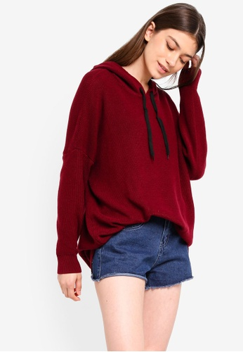 Something Borrowed red Drawstring Knitted Hoodie B84F2AA7D7E5D8GS_1