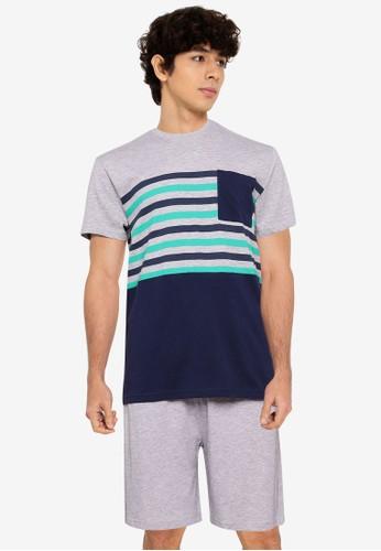 OVS grey Melange Cotton Blend Pyjama Set 5508FAAC4F0461GS_1