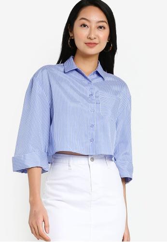 ZALORA BASICS blue Boxy Shirt With Volume Sleeve 607D3AA4A439FCGS_1