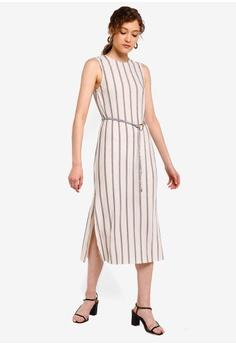 bc2e231339fd TOPSHOP beige Plisse Stripe Belt Midi Dress 7895BAAEDA185DGS_1