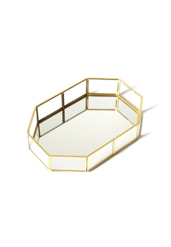 Propstation Classic Octagon Gold Metal Frame Glass Mirrored Tray 20cm 0778AHL59FACBAGS_1