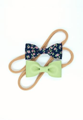 A l i t t l e b o w green and navy Zariya Baby Headband Set 74333KCE508C1BGS_1