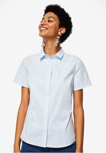 MANGO blue Short Sleeve Shirt AF46CAA0B718E3GS_1