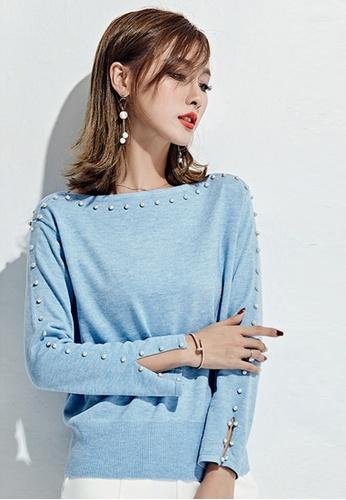 Sunnydaysweety blue F/W Rhinestone Decorative Knit Top UA120889BL AB593AAE4EDAEFGS_1