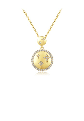 Glamorousky white Fashion Simple Plated Gold Star Geometric Round Pendant with Cubic Zirconia and Necklace 88EB4AC58A3E16GS_1