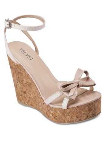 Marie 蝴蝶結木製楔形鞋, 女鞋, 楔zalora 包包 ptt形鞋