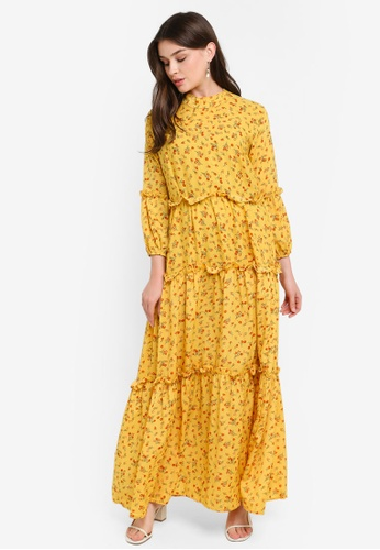 fdf2712d5c5 Buy BYN Long Sleeve Small Floral Maxi Dress Online on ZALORA Singapore