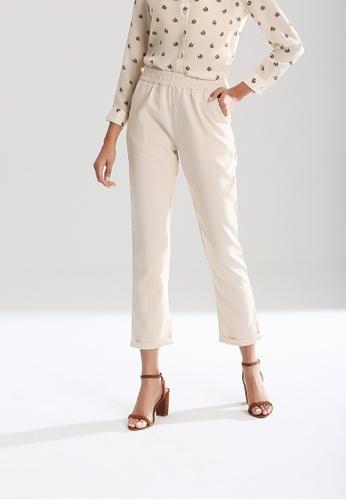 London Rag beige Elastic Waist Striped Pants 12594AA9A1AC46GS_1