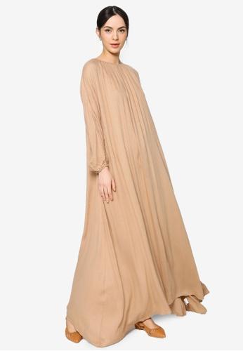 ZALIA BASICS brown Lounge Maxi Dress 70DE4AA8542F8AGS_1