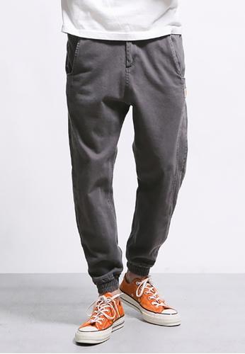hk-ehunter grey Men's Zipper 3D Retro Solid Casual Sweatpants 70DD3AA58BA261GS_1