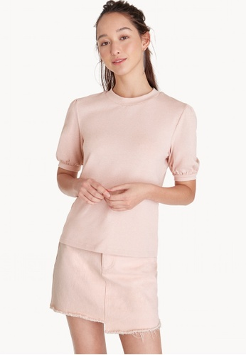 Pomelo pink Rounded Puff Sleeve Top - Pink A47C7AA5F41613GS_1