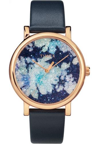 Timex blue Timex Crystal Bloom 38mm - Rose Gold-Tone, Blue Strap (TW2R66400) 5D8DBACF0D0A94GS_1