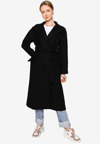 Mango black Belted Wool Coat 7DF02AA2546657GS_1