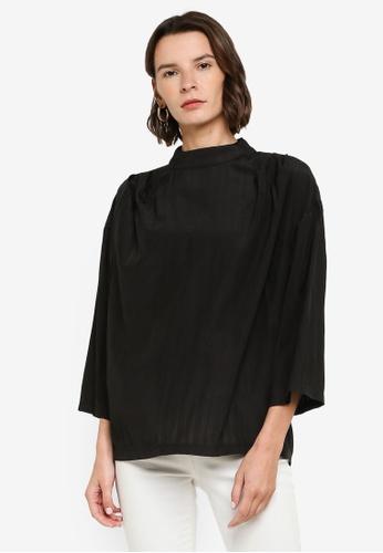 ZALIA BASICS black Mock Neck Long Sleeve Blouse 47819AA97B8264GS_1