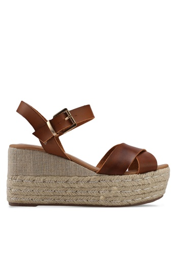ONLY brown ONLY ONE Anne Wedge Sandals E372BSHCEB4E93GS_1