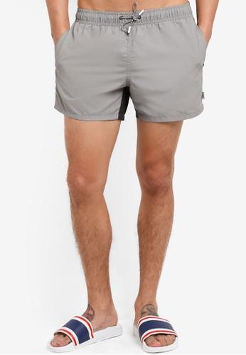 TOPMAN grey Grey Contrast Swim Shorts TO413US55XLOMY_1