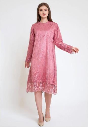 caco. pink sasa tile dress 268E1AAD49F24AGS_1